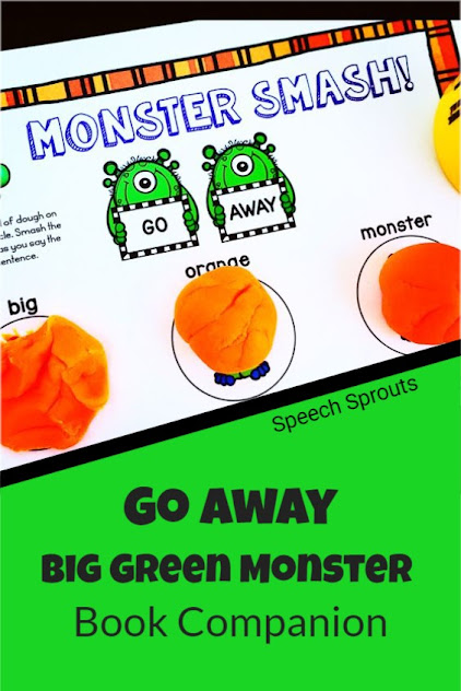 A monster-themed dough mat for speech therapy with the words Go Away at the top and Big Green Monster below. Three balls of orange play dough are beneath the words big, green and monster, waiting for a child to smash them as they say the words