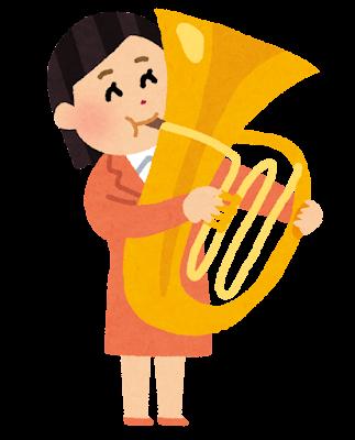 チューバを演奏する人のイラスト(大人の吹奏楽)