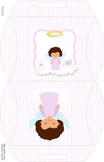 Brunette Angel Girl, Free Printable Pillow Box,