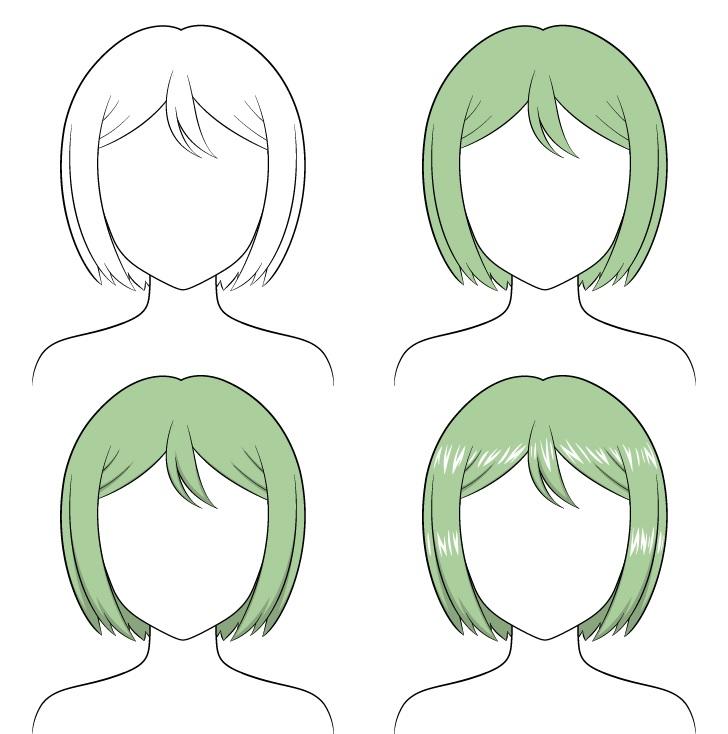 Shading anime menyisir rambut selangkah demi selangkah