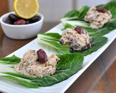 Kalamata Tuna Salad Bok Choy Wraps ♥ AVeggieVenture.com, tuna salad made with olives wrapped in peppery bok choy leaves. Weight Watchers Friendly. LowCarb. Naturally Gluten Free. Paleo. Whole30 Friendly.