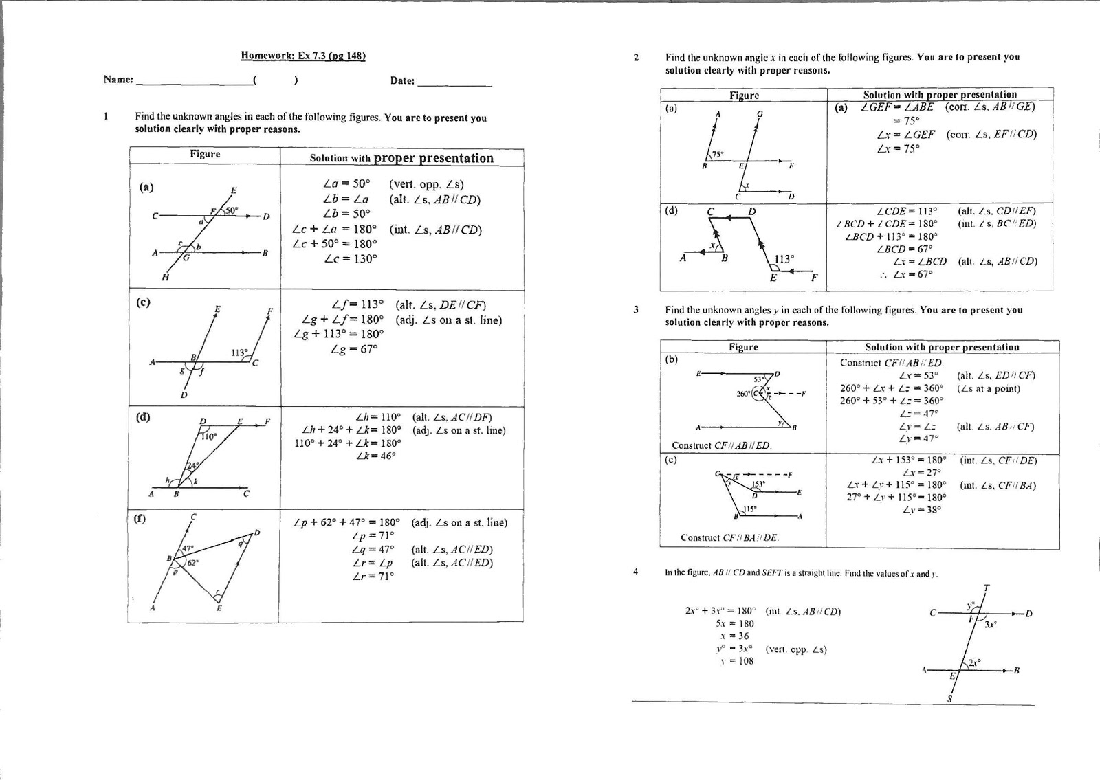Ex 7 3 Angle Properties Of Parallel Lines