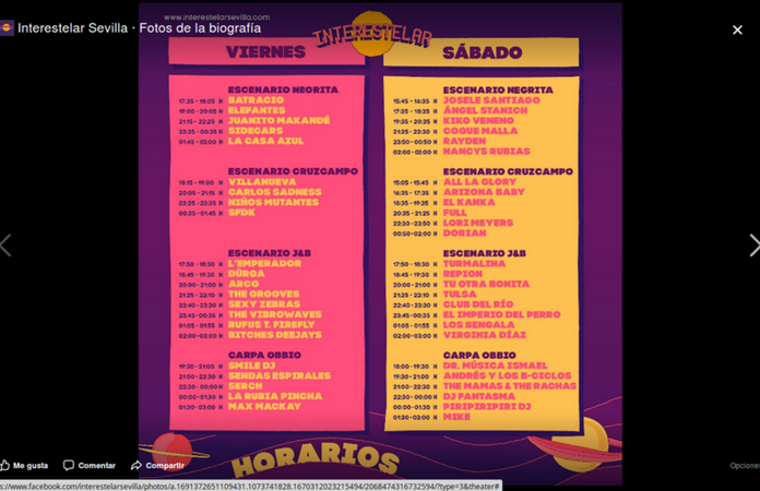 Horarios del Festival Interestelar Sevilla 2018