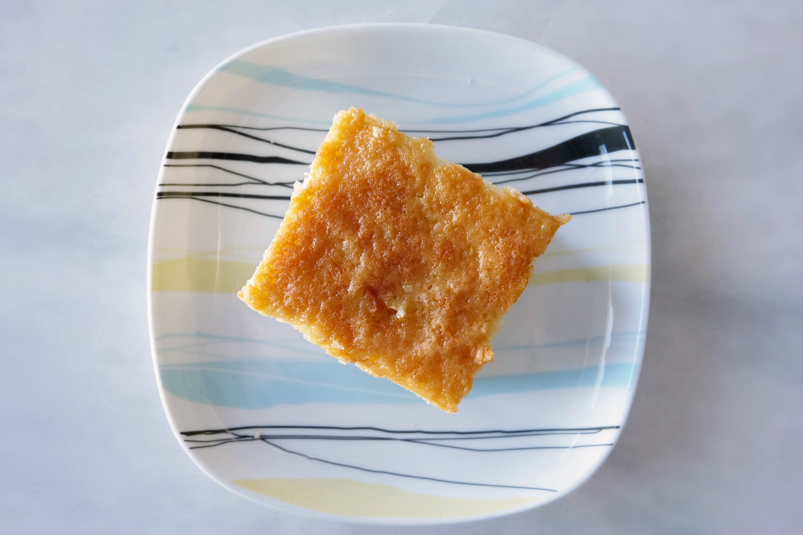 slice of hot milk cake from above