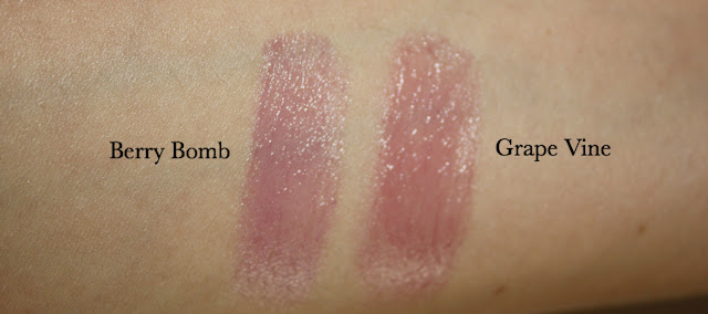 Maybelline Baby Lips Electro Berry Bomb vs. Grape Vine Swatch