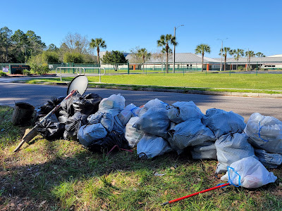Trash Bags In Front of R.J. Murray Middle School