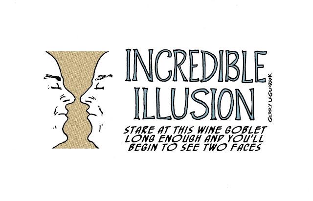 illusion cartoon, two faces,