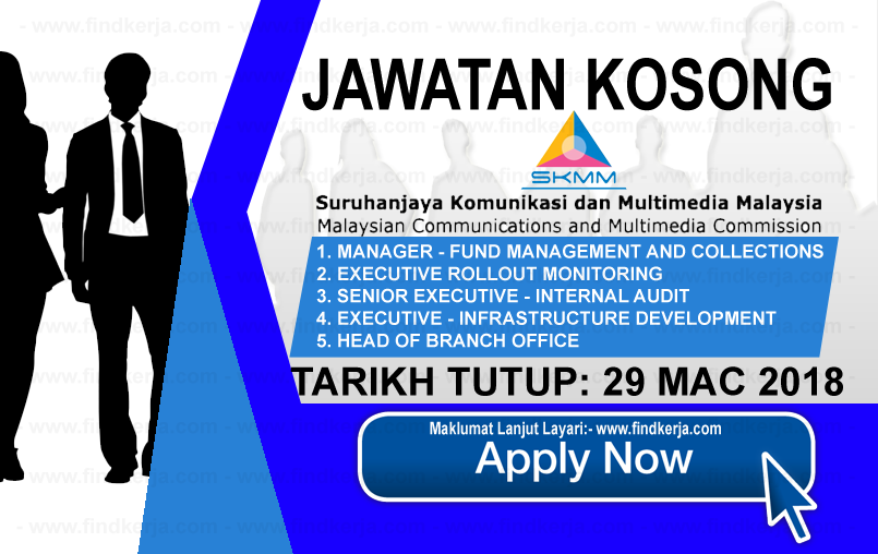 Jawatan Kerja Kosong SKMM - Suruhanjaya Komunikasi Dan Multimedia Malaysia logo www.findkerja.com mac 2018
