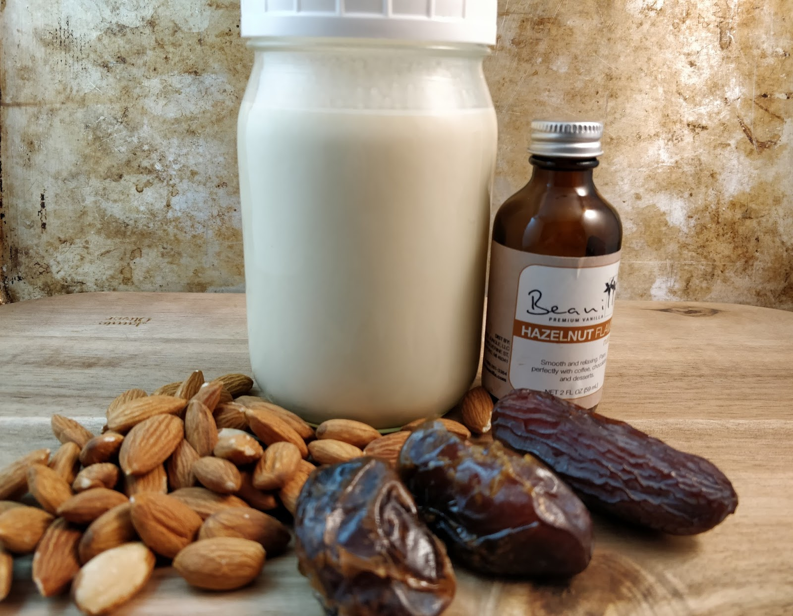 2 1 3 Cups Of Filtered Water 4 Medjool Dates Pitted T Hazelnut Extract I Got Mine From Beanilla Cotton Nut Milk Bag