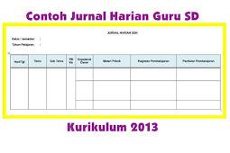 Contoh Jurnal Harian Guru SD Kurikulum 2013 SD Kelas 1,2,3,4,5, dan 6