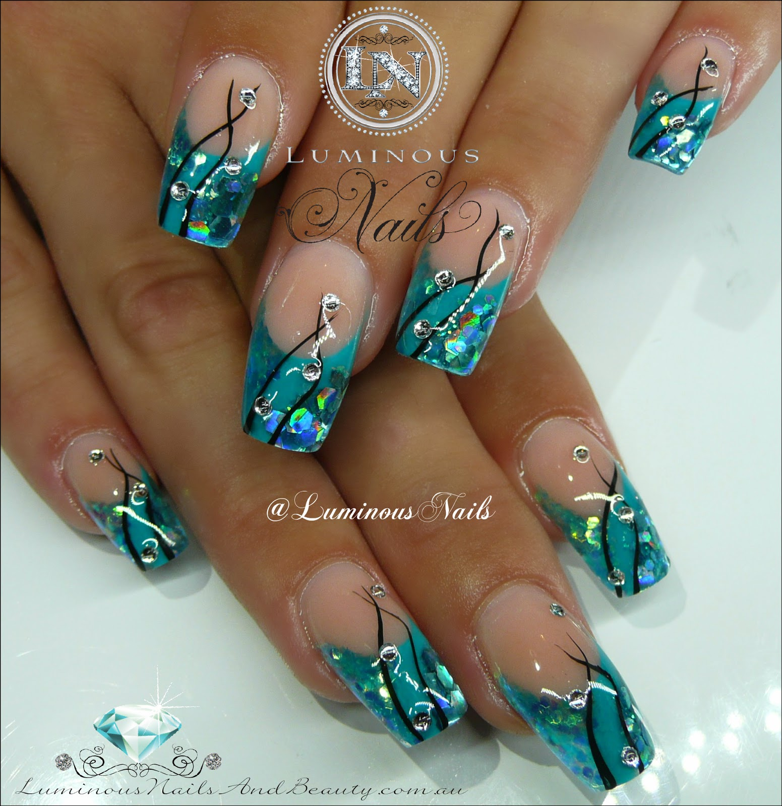 - Turquoise And Silver Nail Designs