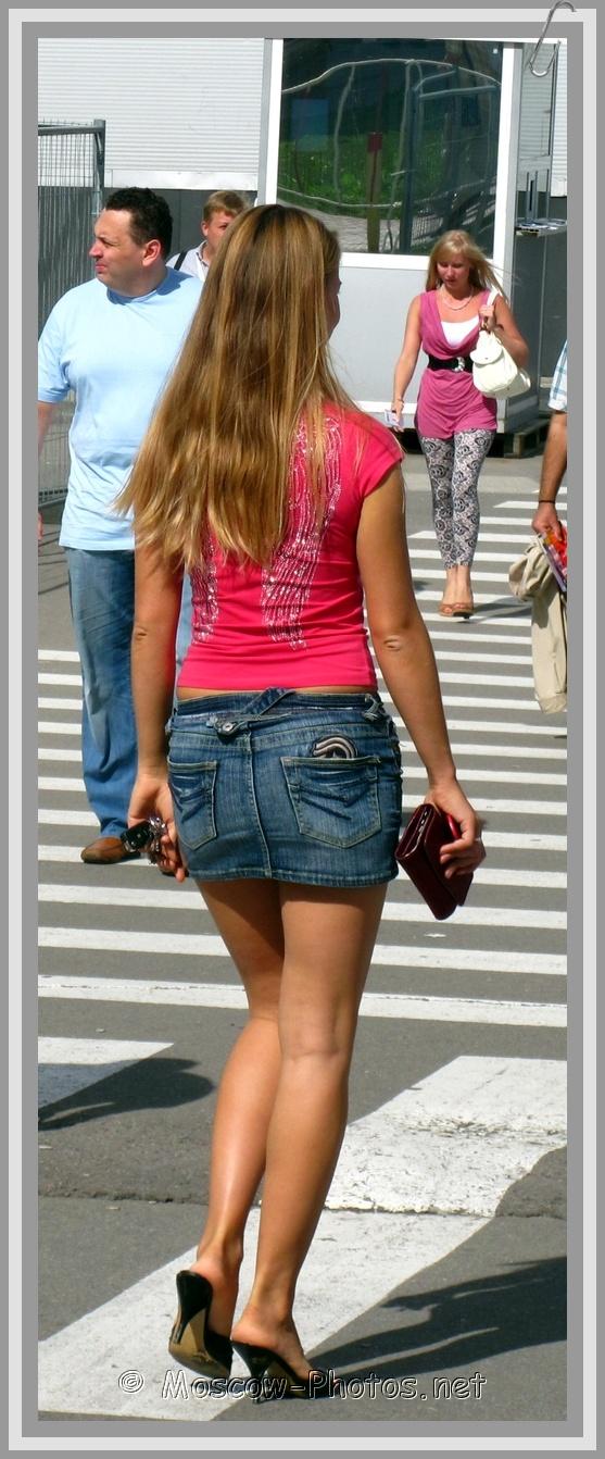 Slim Moscow Girl In Jean Skirt