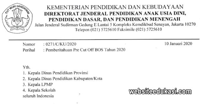 Surat Edaran Pre Cut Off BOS Tahun 2020