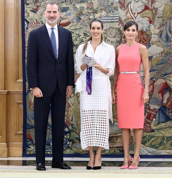 Queen Letizia wore a button detail stretch wool dress by Michael Kors. swimmer Ona Carbonell at Zarzuela Palace in Madrid