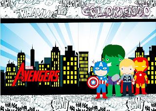 Imprimible carátula de libro para colorear de Los Vengadores Chibi.