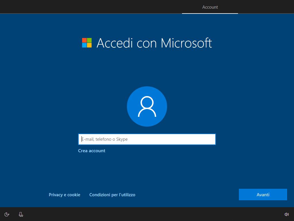 Account-Microsoft-accesso-installazione