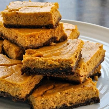 Pumpkin Cheesecake Squares with Gingersnap Crust