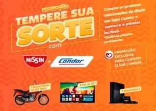 Cadastrar Promoção Condor e Nissin 2020 Tempere Sua Sorte - 3 Motos, 3 Tvs e 3 PS4