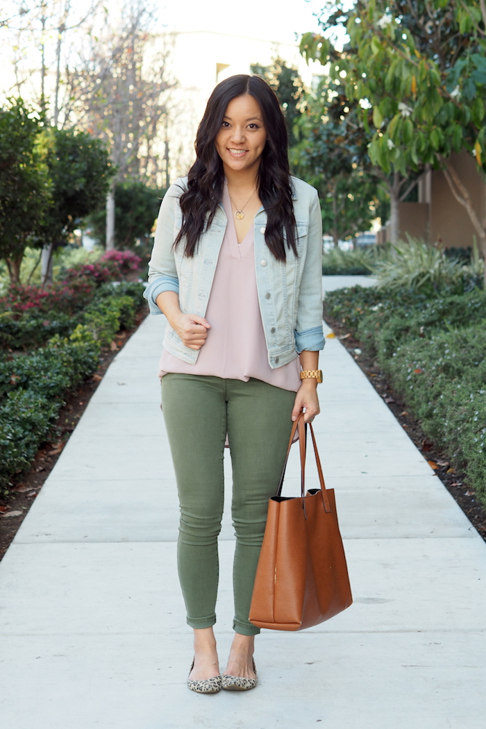 blush + olive + denim jacket + leopard print