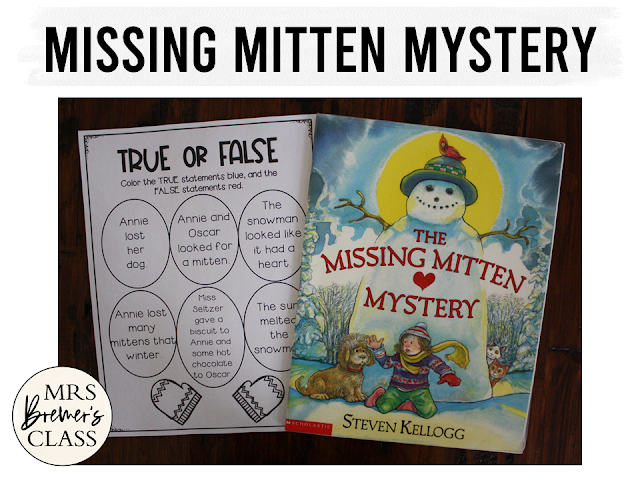 The Missing Mitten Mystery book study activities unit with Common Core aligned literacy companion activities & craftivity for Kindergarten & First Grade