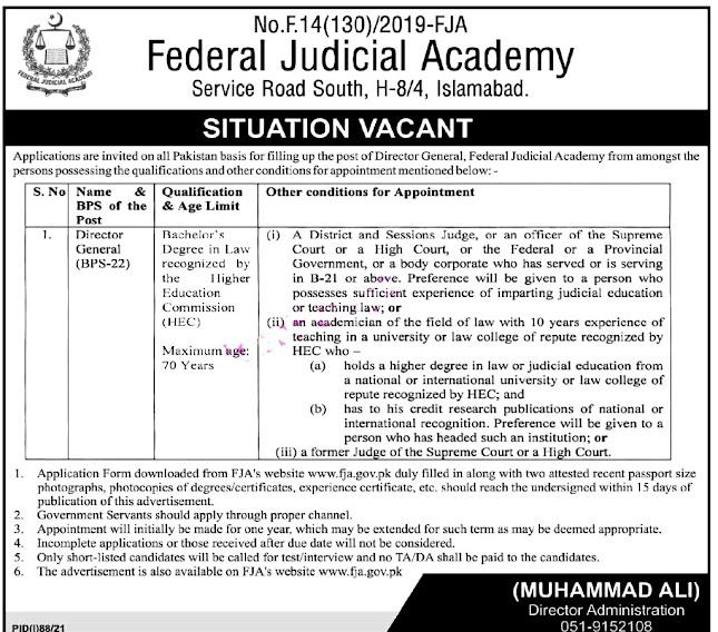 New Jobs in Federal Judicial Academy FJA 2021