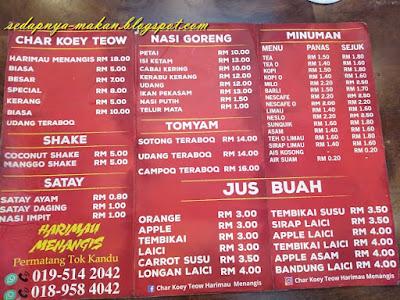 menu 1 restoran char kuey teow harimau