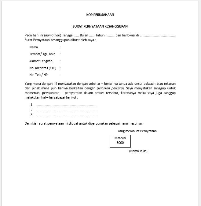 Contoh Form Surat Pernyataan Kesanggupan untuk berbagai Keperluan