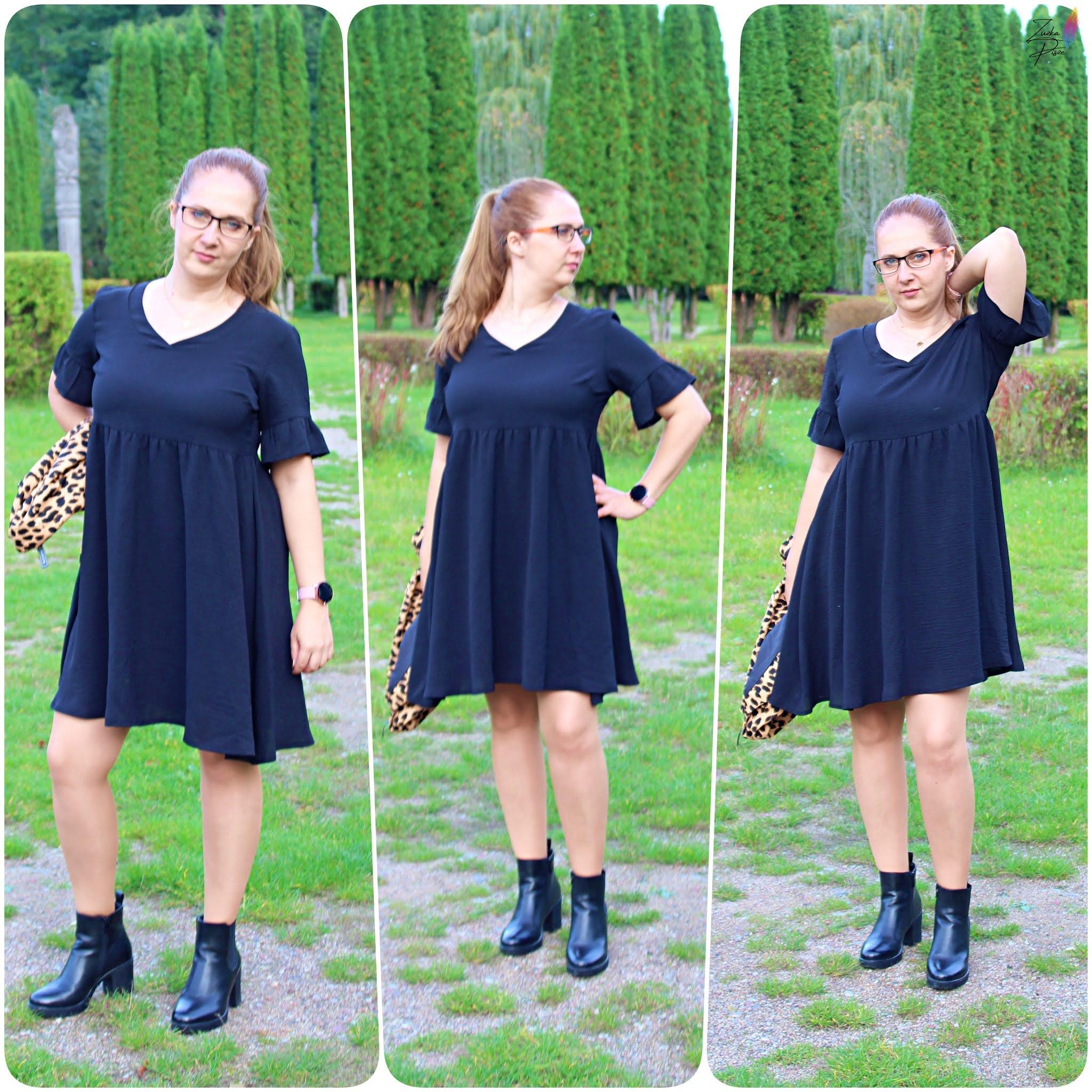 Mała czarna rozkloszowana sukienka AMEBA - Grandio.pl