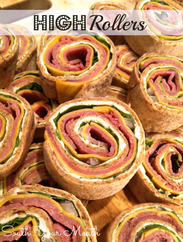 High Rollers! A swanky, retro pinwheel appetizer recipe made with roast beef, horseradish, cheddar, fresh spinach and cream cheese.