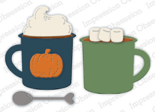 Use the Coffee & Cocoa Die set from Impression Obsession for handmade fall and winter crafts, like handmade cards and scrapbooking. #iostamps #diecutting #cardmaking (affiliate link)