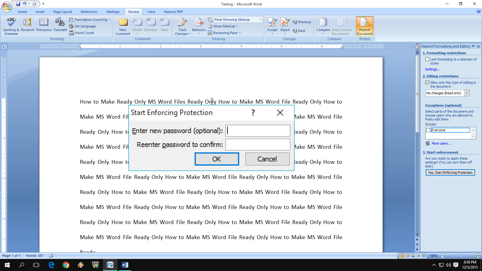 Learn New Things How To Make Ready Only Ms Word Files No