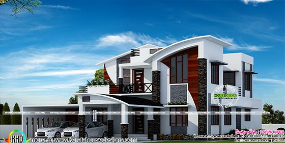 Contemporary model curved roof house