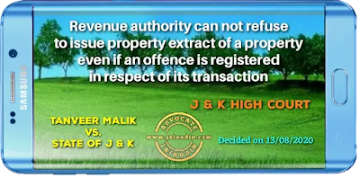 Revenue authority can not refuse to issue property extract of a property even if an offence is registered in respect of its transaction