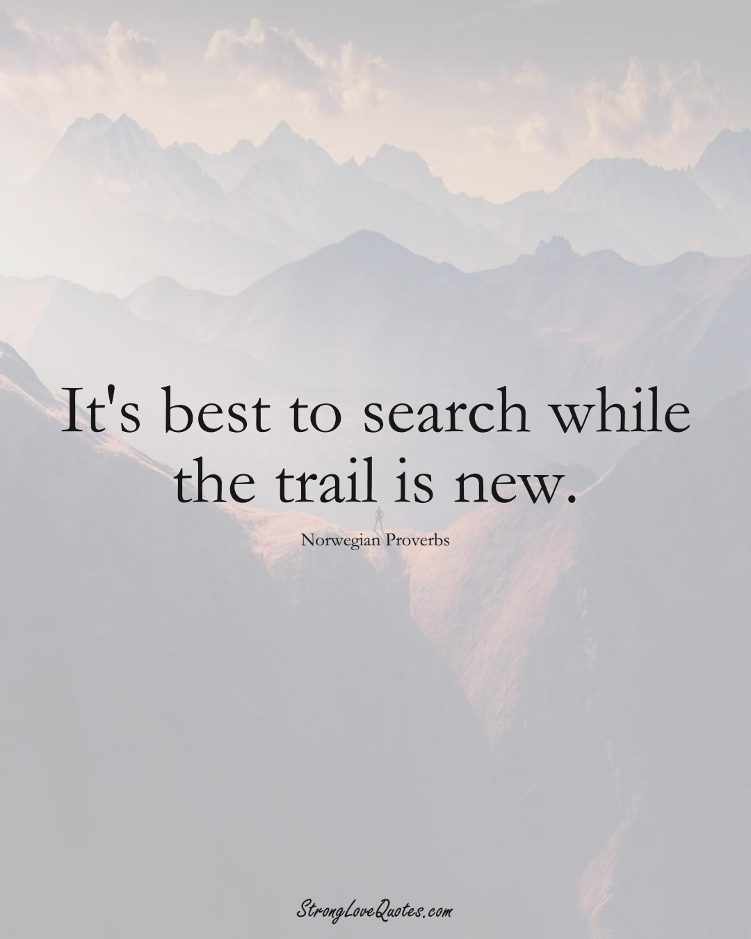 It's best to search while the trail is new. (Norwegian Sayings);  #EuropeanSayings
