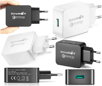 BlitzWolf® USB Chargers: Smart Fast-Charging Qualcomm QC3.0 USB Adapter Charger With Power3S Tech
