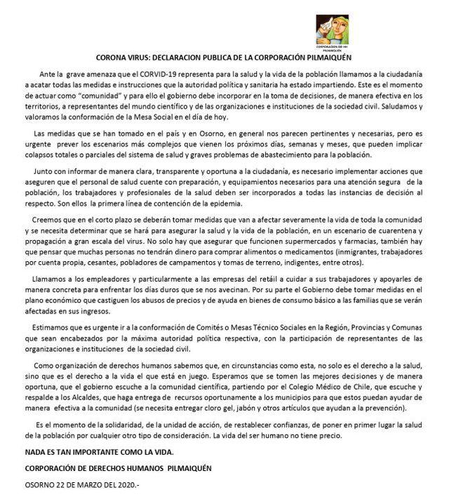 Declaración Pública de la Corporación Pilmaiquén