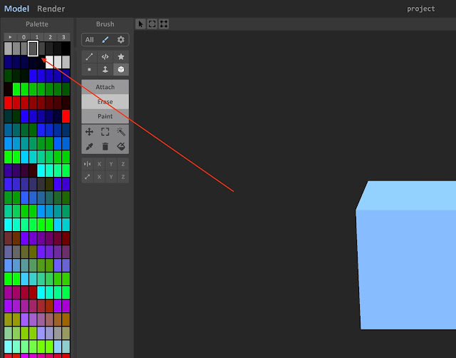 Choosing a color from the Palette window
