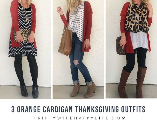 Thrifty Wife, Happy Life-3 Orange Cadigan Thanksgiving Outfits
