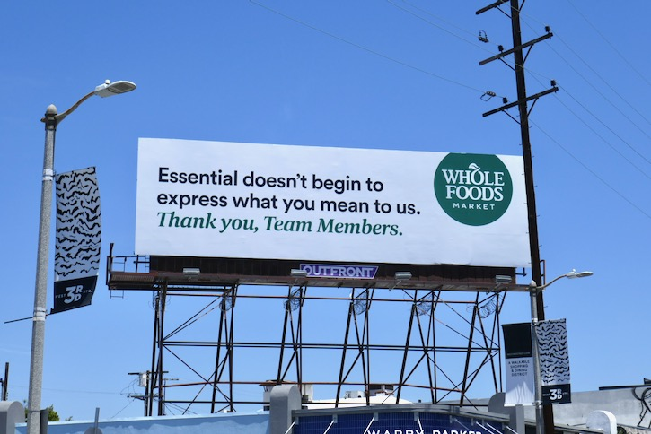 Thank you Team Whole foods Market billboard