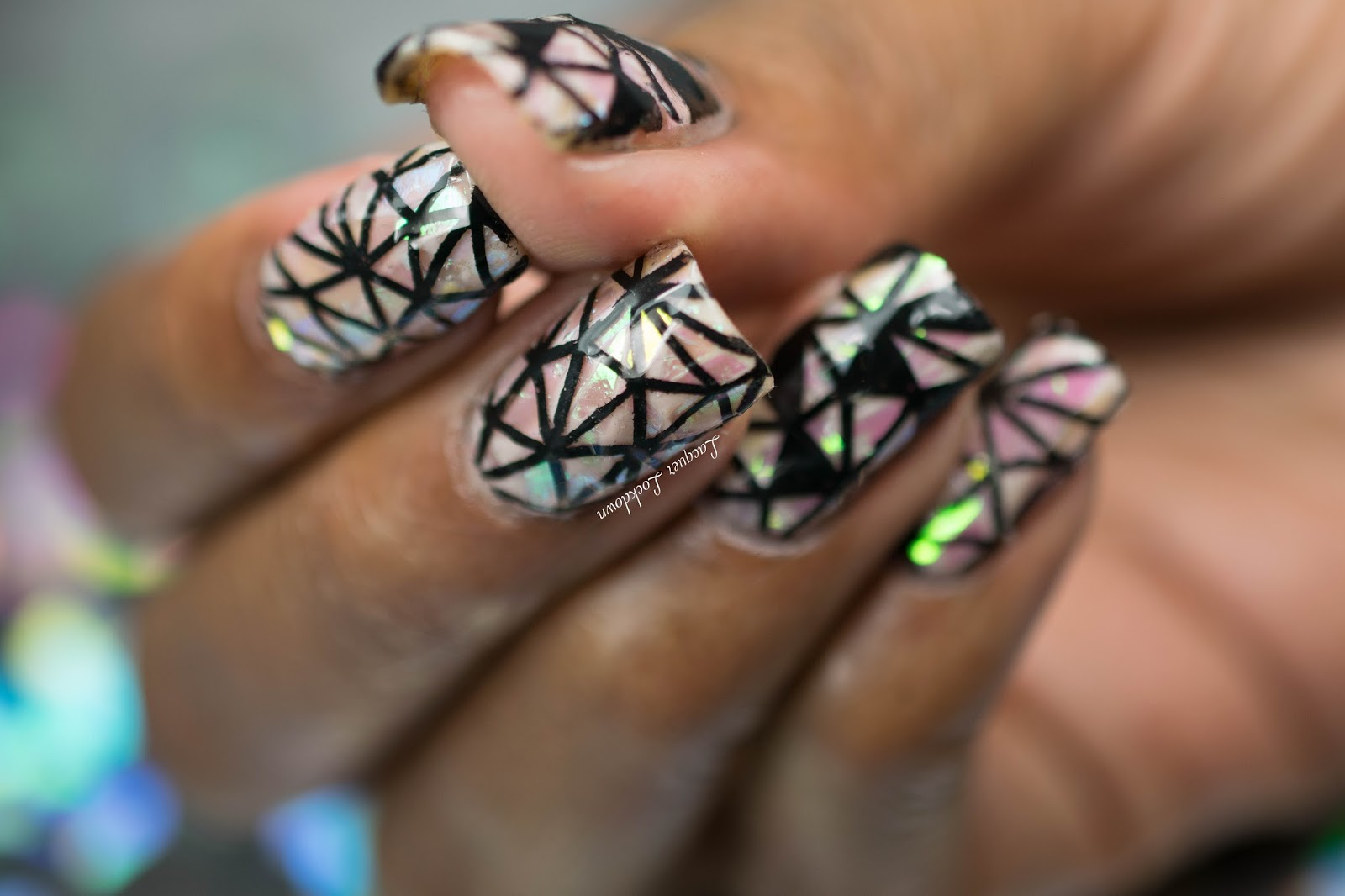 Lacquer Lockdown Petla Plate Abstract Shattered Glass Nail Art
