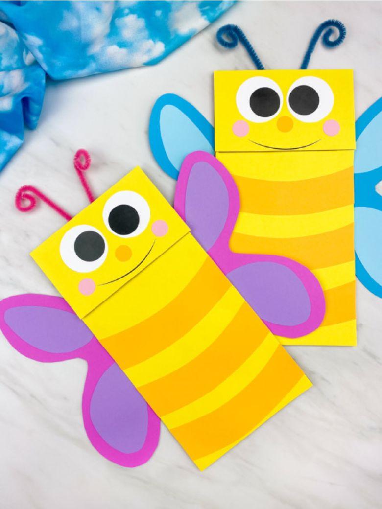 Spring crafts for kids - paper bag butterflies craft
