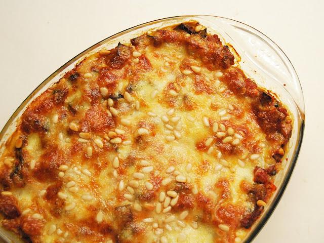 Lasagnes - aubergines - lardons - pignons