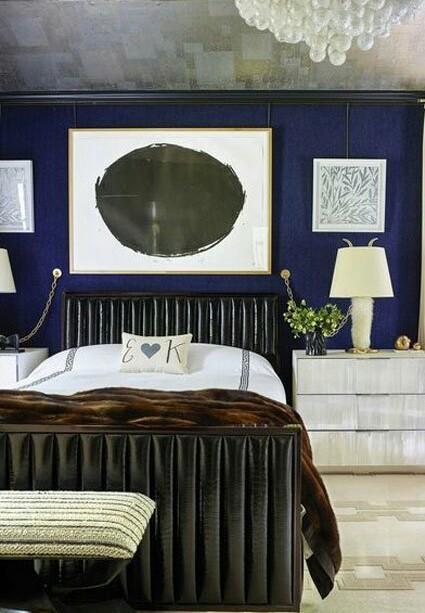 dark blue aesthetic bedroom