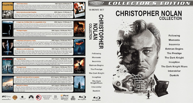 Christopher Nolan Collection 10 Movie Set Bluray Cover