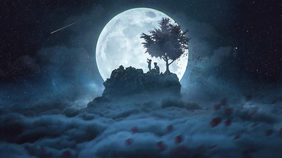 Moon Stargazing Night Clouds Digital Art 4k Wallpaper 87
