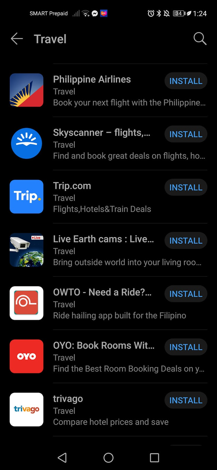 Travel-related apps inside AppGallery