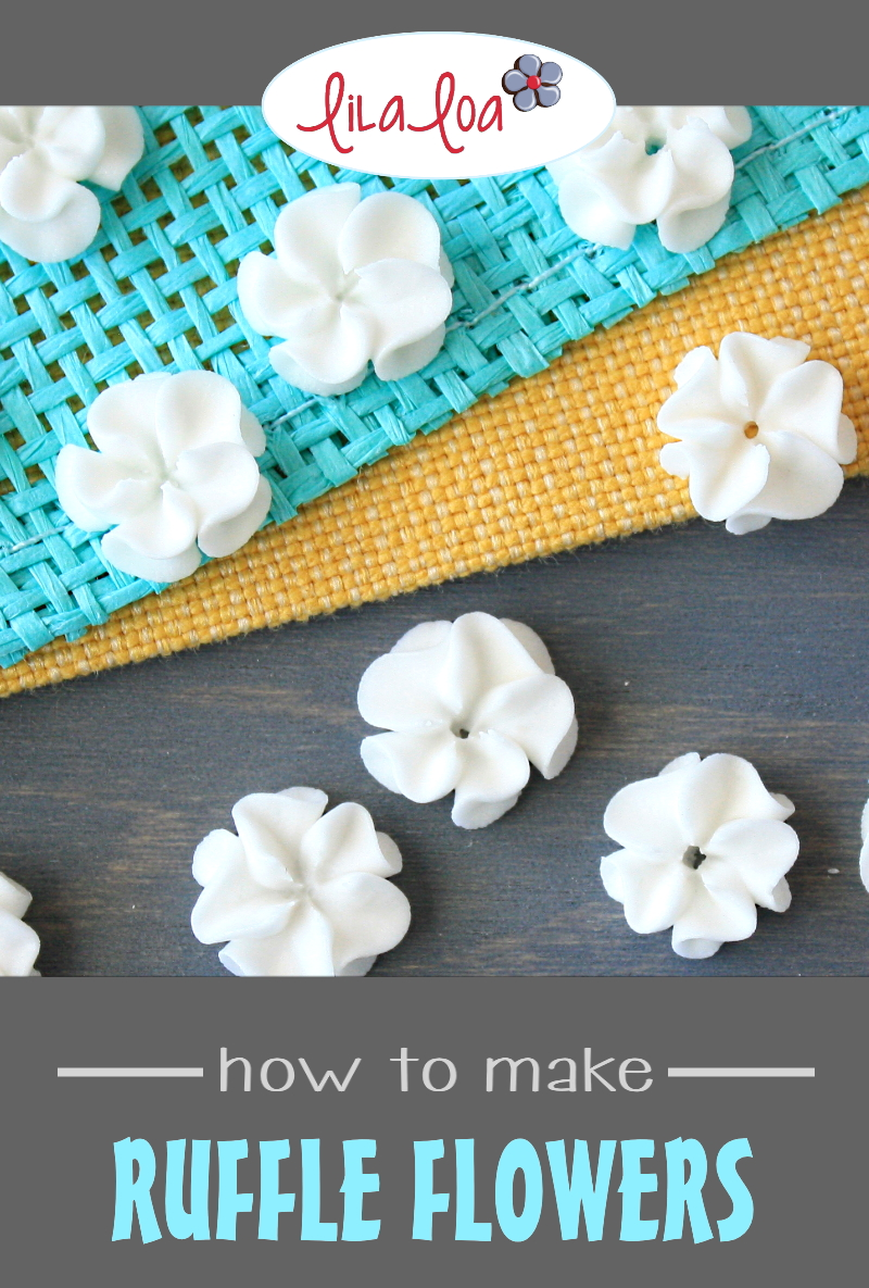 ruffled hand piped royal icing flower transfers