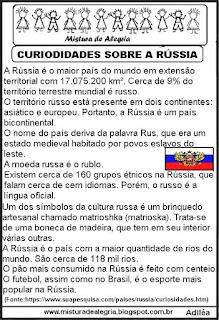 Texto curiosidades sobre a Rússia