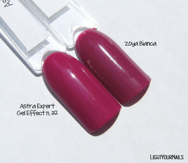 Astra Expert Gel Effect n. 32 Holiday Plum vs Zoya Bianca