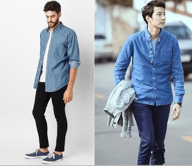 phối quần kaki nam với áo khoác jean